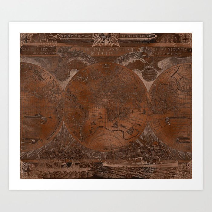 Rose gold and copper antique world map with sail ships Art Print