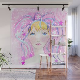 Whimiscal Girl with Blue Ribbons Wall Mural
