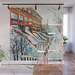 Brooklyn New York In Snow Storm Wall Mural