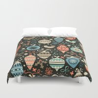 folk Duvet Covers featuring Festive Folk Charms by Poppy & Red