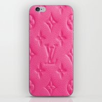 lv iPhone & iPod Skins featuring Pink LV by I Love Decor
