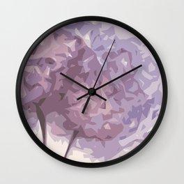 Geometric abstract purple flower Wall Clock