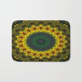 Large Yellow Wildflower Kaleidoscope Art 4 Bath Mat