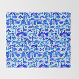 Exotic Garden Blue Throw Blanket