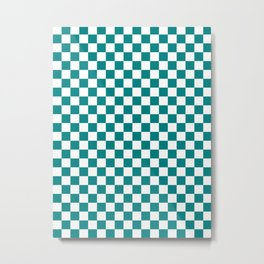 White and Teal Green Checkerboard Metal Print