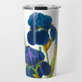 Purple Iris, Iris, Iris Germanica, Iris Germanique, by Antique Print Pierre Joseph Redoute, Plate 309, Super Sharp PNG Travel Mug