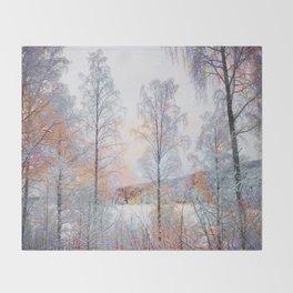 Winter in Norwegian Woods Throw Blanket