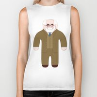 freud Biker Tanks featuring Sigmund Freud by Late Greats by Chen Reichert