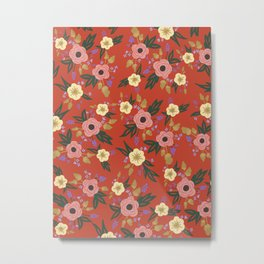 Vermillion Floral Metal Print