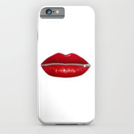 Lucious red lips with zipper iPhone Case