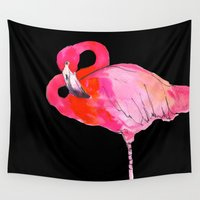 fancy Wall Tapestries featuring Fancy Flamingo by Marcella Wylie