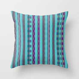 Modern Stripes Turquoise Purple Throw Pillow