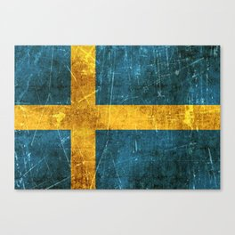 Vintage Aged and Scratched Swedish Flag Canvas Print
