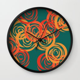 Orange on Green Wall Clock