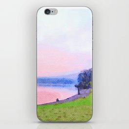 Calm Pink Sunset over Lake Windermere, Lake District, England Watercolor Painting iPhone Skin