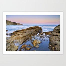 """Volcanic sea at pink sunset"" Art Print"