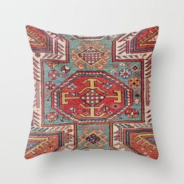 Orduch Medallion // 19th Century Colorful Bright Baby Blue Diamond Blossom Ornate Accent Pattern Throw Pillow
