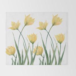 Yellow Woodland Tulips Throw Blanket