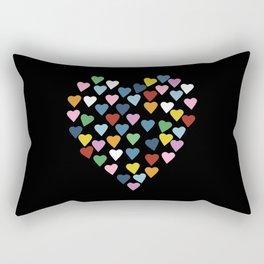 Hearts Heart Black Rectangular Pillow