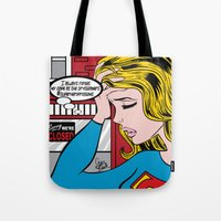 supergirl Tote Bags featuring #superheroproblems SuperGirl by GwenILLustrates