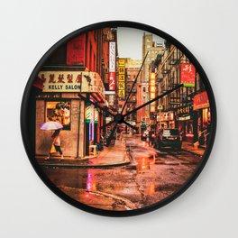 New York City Rain in Chinatown Wall Clock