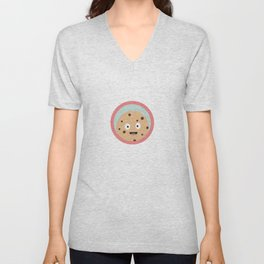 chocolate cookie with red circle Unisex V-Neck