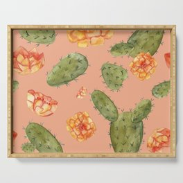 Prickly Pear Cactus Pattern - Watercolor Print- Blush Serving Tray