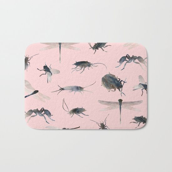 Insects on Pink Bath Mat