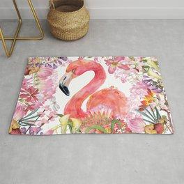 Flamingo in Tropical Flower Jungle Rug