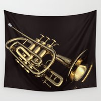 trumpet Wall Tapestries featuring trumpet by Ancello