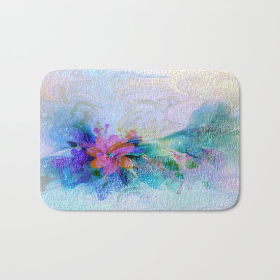 Soft Shaded Floral Abstract Bath Mat