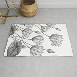 Water Lily Black And White Rug