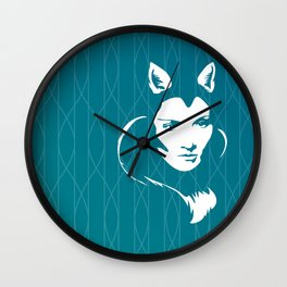Faces - foxy lady Marlene on a teal wavey background Wall Clock