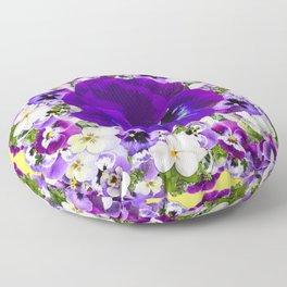 PURPLE & WHITE PANSY GARDEN ART Floor Pillow