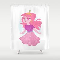 princess bubblegum Shower Curtains featuring Bubblegum by Pilotinta