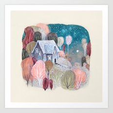 Cottage of October Trees Art Print