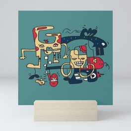 Turkoise Doodle Monster World by Pablo Rodriguez (Pabzoide) Mini Art Print