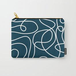 Doodle Line Art Pattern | White on Dark Blue-Green  Carry-All Pouch