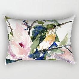 Hummingbird and Magnolia Flowers Rectangular Pillow