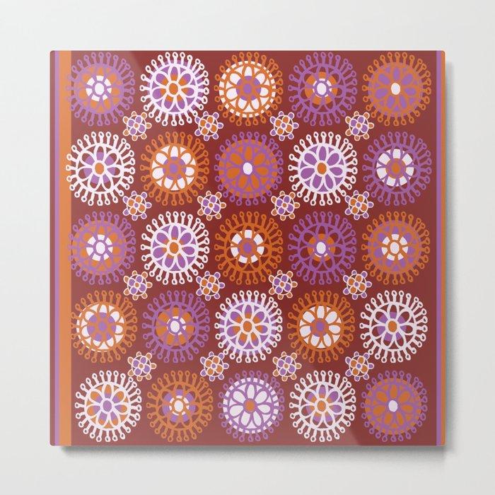 Flower Doodles Russet/Orange, circles and flower pattern Metal Print