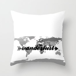 Wanderlust Black and White Map Throw Pillow
