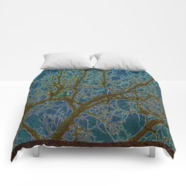 Jeweled Birds In Winter Tree Comforters