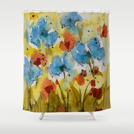 Flowers (watercolor) Shower Curtain