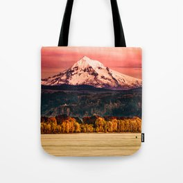 Sunset Snowy Mountain - Mt. Hood Tote Bag