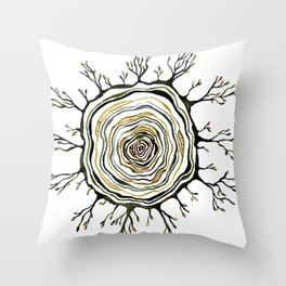 Watercolor Tree Ring Roots Throw Pillow