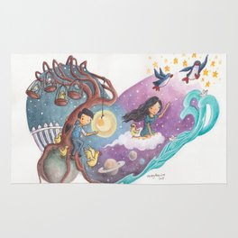 Heart Painting of Girl and Penguins Leaving Boy On His Planets of Cages and Ducks and Boy on Differe Rug