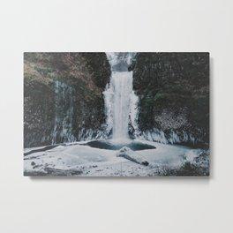 Frozen Multnomah Falls Metal Print