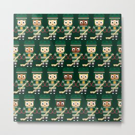 Super cute sports stars - Ice Hockey Green Metal Print