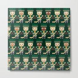 Super cute sports stars - Ice Hockey Green Metal Print