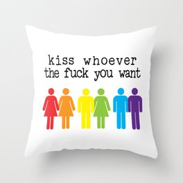 LGBT PRIDE MONTH PARADE product - KISS WHOEVER YOU WANT print Throw Pillow
